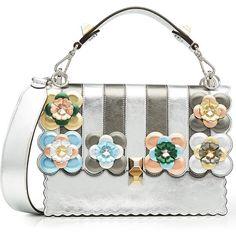 Fendi Kan I Metallic Leather Shoulder Bag ($3,640) ❤ liked on Polyvore featuring bags, handbags, shoulder bags, silver, metallic leather handbags, fendi purse, leather purses, leather handbags and white purse