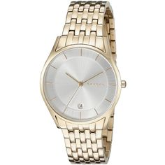 Skagen HOLST Analog Display Analog Quartz Gold Watch ($172) ❤ liked on Polyvore featuring jewelry, watches, quartz jewelry, analog watches, gold watches, analog wrist watch and skagen