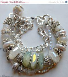 ON SALE chunky bracelet rainbow moonstone bracelet by soulfuledges