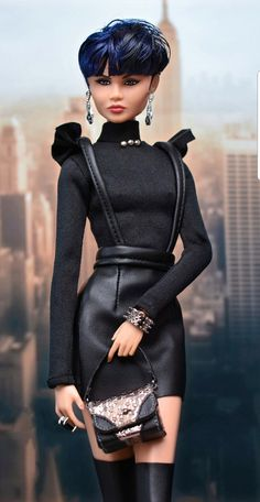️ Colette ⭐️ Checking out Colette 😍 . Sexy black outfit by ⭐️⭐️ . Fashion Royalty Dolls, Fashion Dolls, Barbie Clothes, Barbies Dolls, Dolls Dolls, Covet Fashion Games, Dress Up Dolls, Black Barbie, Vintage Barbie Dolls