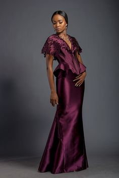 Alexandra - Plum ribbed corset with fringe fascia and floor length skirt. Fringe fascia is patterned with Komole Kandids Azalea motif.