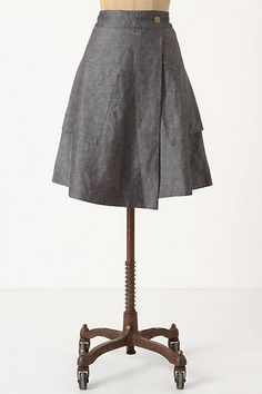 "Anthropologie: Vast Wrap Skirt (A-line silhouette of wrapped silk-linen with side pockets, button closure, made of Silk, linen with cotton lining; Regular: 21.25""L, Petite: 20.25""L)"