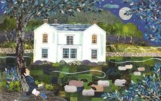 Full Moon over Allan Bank, Grasmere,  home of William Wordsworth  (cut paper collage). www.amandawhite-contemporarynaiveart.com