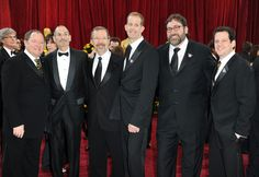(L-R) Pixar's John Lasseter, Apple's Steve Jobs, Pixar's Ed Catmull, director Pete Docter, producer Bob Peterson and composer Michael Giacchino arrive at the 82nd Annual Academy Awards held at Kodak Theatre on March 7, 2010 in Hollywood, California.