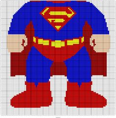 "SUPERMAN KID  95 X 95 MINI C2C GRAPH SQUARES = 45"" X 45"" THROW"