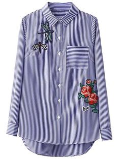 Only $18.99 for High Low Striped Dragonfly Embroidered Shirt