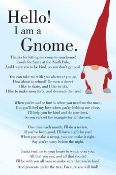 North Pole Christmas Gnome and Gnome Poem Story Diy Xmas, Diy Christmas Gifts, Christmas Projects, All Things Christmas, Holiday Crafts, Holiday Fun, Christmas Decorations, Christmas Ornaments, Christmas Gnome