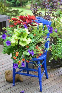 Garden Chairs, Garden Planters, Garden Art, Diy Garden, Container Plants, Container Gardening, Chair Planter, Perfect Plants, Painted Chairs