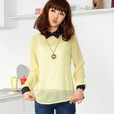 Buy '59 Seconds – Polka Dot Collar Sheer Dip-Back Blouse' with Free International Shipping at YesStyle.com. Browse and shop for thousands of Asian fashion items from Hong Kong and more!