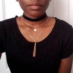 Check out our shop announcements for details on the coupon!  This choker currently only comes in black. The velvet stripe is 3/8 ( 9.525 millimeters) wide and 11.5 inches long. There is velvet on both sides, giving you a soft look on the outside and soft feeling against your skin. *Does not include gold chain necklace  The necklace is finished off with a ribbon end, lobster clasp, and extender chain. All of these items are gold-plated brass.  The choker has an extension of 3 inches givin...