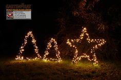 Gartenmotive #Stern (ausverkauft) und Tannenbaum zur #Weihnachtsbeleuchtung #Figuren aus Metallrahmen mit LED beleuchtet für #Weihnachten mit Erspieß einfach aufzustellen Gartensfigur Stern Ø 90 cm mit 150 LED Gartensfigur Tanne 75 cm hoch mit 175 LED beleuchtet Gartensfigur Tanne 100 cm Metallrahmen 225 LED
