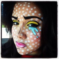 Pop-Art-Make-up Halloween Make-up Comic-Bücher diy Comic-Make-up Halloween Looks, Halloween Face, Halloween Costumes, Halloween Halloween, Art Pop, Comic Makeup, Cartoon Makeup, Wonder Woman Makeup, Pop Art Makeup