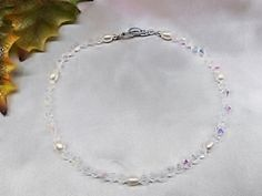 White Pearl Anklet Clear AB Swarovski Crystal Freshwater 925 Sterling Silver or 14K Gold Filled Stamped 14k GF BuyAny3Get1 Free