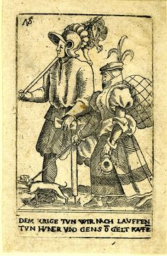 1560-1584 Nicolaus Solis -  The sutlers; whole-length figures, walking to left; the male figure at left carrying chicken and geese tied to a staff and an axe; the female figure carrying a large bundle on her back and holding a dog on a leash; from a series of twenty-two(?) etchings of soldiers.