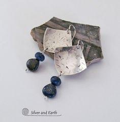 Silver Dangle Earrings Lapis Lazuli Earrings by SilverandEarth, $50.00