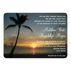 Romantic Beach Sunset Wedding Invitation Beach Wedding Reception Cards