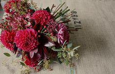 Rich bouquet of Dahlias, hydrangeas & rose hips. Autumnal bouquet.