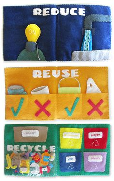 Recycling Quiet Book Set, great for older kids. Sewing Projects For Kids, Book Projects, Sewing For Kids, Diy Quiet Books, Felt Quiet Books, Book Crafts, Felt Crafts, Recycling For Kids, Quiet Time Activities