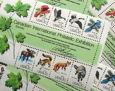 50 pieces - Vintage unused 1978 13 cent CAPEX Wildlife postage stamps - great for nature themed wedding invitations, save the dates