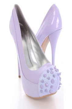 Lavender Patent Faux Leather Glitter Spiked Pump Heels