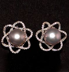 Lavender-Pink Pearl Earrings ~ 18K White Gold ~  11mm Lavender-Pink Pearls ~ 1.78 Carats Diamonds @}-,-;--