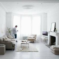 White wood floors. If we had to paint wood floors I'd have no problem painting them white!