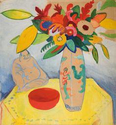 August Macke (1887 - 1914)  Stillleben mit Strauß und Buddha, 1910