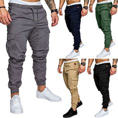 Season:Summer; Fabric:Cotton,65%Cotton 35%Polyester; Gender:Men's; Style:Classic Style,Stylish; Elasticity:Micro-elastic; Occasion:Home,Daily; Details:Only pants; Fit Type:Loose; Function:Outdoor; Waistline:Mid Waist; Pattern:Solid Colored; Design:Elastic Waist,Classic; Special Size:Normal; Pants Type:Chinos,Pants; Fly Type:Elasticity,Drawstring; Front page:FF; Listing Date:05/27/2021; Production mode:Self-produce; Hips:; Length:; Waist:; Pants Length:Ankle-Length; Print Type:non-printing; produ Army Cargo Pants, Trouser Pants, Men Pants, Mens Sweatpants, Jogger Sweatpants, Fitted Joggers, Style Classique, Fashion Joggers, Trousers Fashion