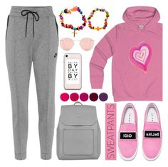 """""""Comfort is Key: Sweatpants (19)"""" by samra-bv ❤ liked on Polyvore featuring NIKE, Deborah Lippmann, Ray-Ban, Accessorize and Joshua's"""