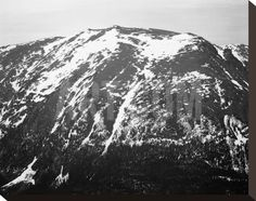 Full view of barren mountain side with snow, in Rocky Mountain National Park, Colorado, ca. 1941-19 Stretched Canvas Print by Ansel Adams at Art.com