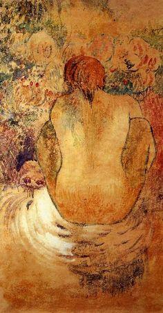 Crouching Marchesi Donna Vedi di schiena, oliio di Paul Gauguin (1848-1903, France)