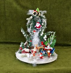 Santa Decor Snow Ornament Christmas Table by VintageShopCreations