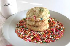 Funfetti Cookies    The funfetti cookie recipe uses the boxed cake mix  to make cookies instead of cake. @jdrummond