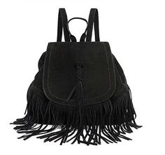 Casual Women Backpack Mini Tassels Rucksack Fashion Solid Women Shoulder Bag Satchel Faux Suede Leather Mochilas School Bag