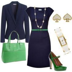 Navy blue classic dress