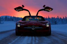 Mercedes Benz SLS AMG with a beautiful winter sunset