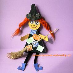 Copatá čarodějnice s dlouhýma nohama. Další varianta na dílko spojené se zvykem pálení čarodějnic.
