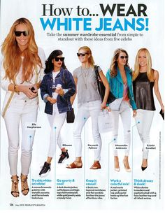 "Sunil Tip:  The ""season of the white jean"" is here….People helped us with different ways to wear white jeans. What is your favorite?   We have the most comfortable white Jeans at Jockey P2P.  Let me know if you would like a pair!"