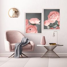 A set of two, minimalist Ranunculus prints with beautiful blush pink and charcoal grey tones. The perfect floral set for your beautiful home.