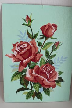 Vintage Paint by Number Oil Painting Red Roses Aqua Back Number Art, Paint By Number, Vintage Prints, Vintage Art, Aqua Paint, Red And Pink Roses, Aqua Background, Border Embroidery, Painted Letters