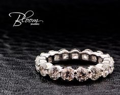 Black Diamond Eternity Ring 18k White Gold by BloomDiamonds
