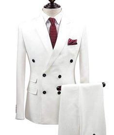 2 Pieces White Double Breasted Solid Slim Fit Mens Suit Notch Lapel One Button Tuxedo Jacket Pants Set ( BlazerPant) Prom Suits For Men, Dress Suits For Men, Men's Suits, Mens Suits Online, Designer Suits For Men, Tuxedo Jacket, Tuxedo Coat, White Tuxedo, Sleeveless Jacket