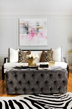 Bliss at Home Taylor Burke Home Style It Challenge Lacefield for TBH 24x24 trimmed pillows and TBH London Tufted Ottoman in Charcoal Velvet