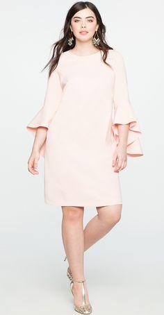 Plus Size Flounce Sleeve Shift Dress