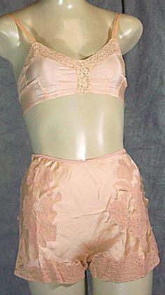 Lingerie Vintage Panties | BRA and PANTIES SET PEACH SILK XXS LINGERIE (LINGERIE - Bra - Panties ...
