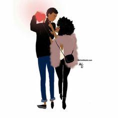 Explore Niki& Groove, Nicholle Kobi, and more! Black Couple Art, Black Love Art, Black Girl Art, Black Is Beautiful, Black Girl Magic, Art Girl, African American Art, African Art, Natural Hair Art