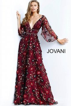 a0b9ab5c39e Burgundy Floral Embroidered Plunging Neck Evening Gown 61905