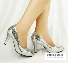 Silver Closed Toe High Heels