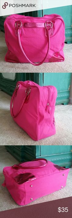 """VS weekend getaway bag Gorgeous Victorias Secret travel bag! ! perfect for a weekend getaway! This bag has enough space for about 4-5 outfits! Zips close,  one inside zipper pocket and one outside pocket. Well made - No stains or tears- perfect condition!   Approx 13"""" tall - 6"""" wide and 16"""" long. Wears on shoulders comfortably.  FINAL PRICE - BUNDLE WITH 2 OTHER LISTINGS FOR A 20%  DISCOUNT! ☆♡☆♡☆♡☆ Victoria's Secret Bags Travel Bags"""