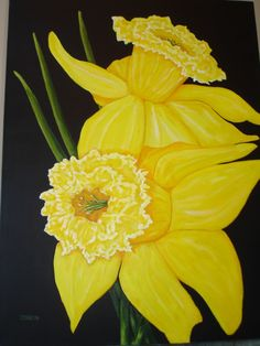 ART Painting FLORAL DAFFODILS by ARTSbyLYND on Etsy